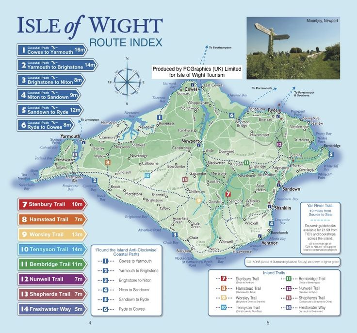 Route index of Isle of Wight walks produced by PCGraphics for Isle of Wight Tourism. See more of our maps on our website http://www.pcgraphics.uk.com or read our blog http://www.pcgraphics.uk.com/blog/