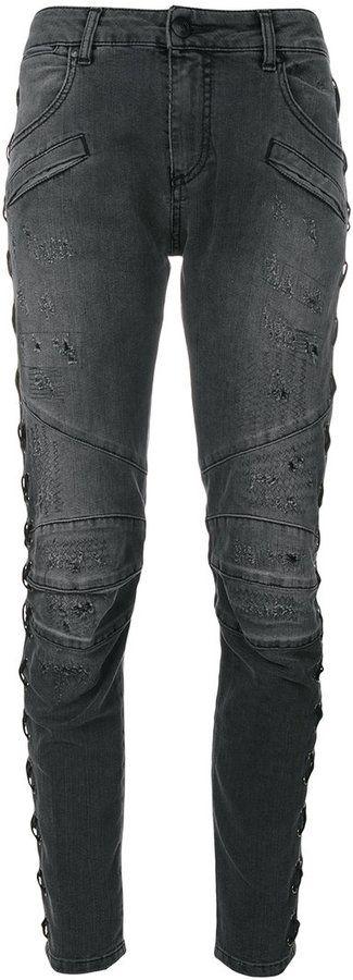 Pierre Balmain lace-up jeans
