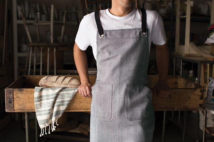 Blue Danica Studio Parker Cotton Chefs Apron with Pockets
