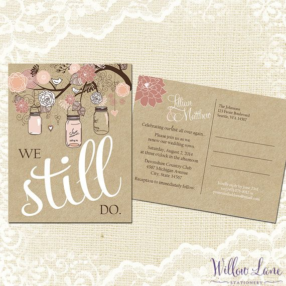 Vow Renewal Postcard - We Still Do -  Blush Pink Mason Jar Vow Renewal Invitation - Burlap and Mason Jar Vow Renewal Invite -5001 -PRINTABLE...