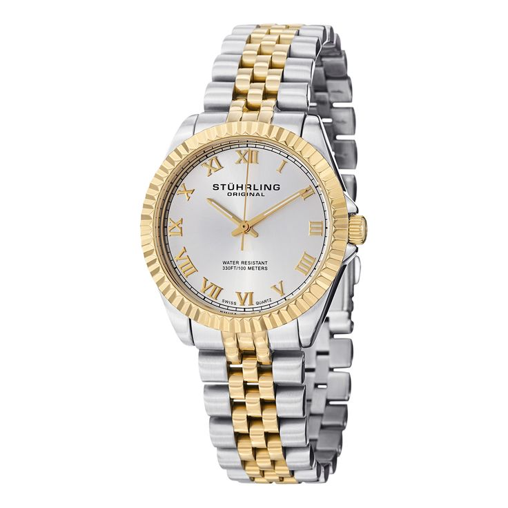 This watch is built from solid stainless steel for a strong, rugged exterior that is complemented by a fascinating ribbed bezel that shines brilliantly with its polished finish. The radiant dial includes individually hand-applied Roman numerals.
