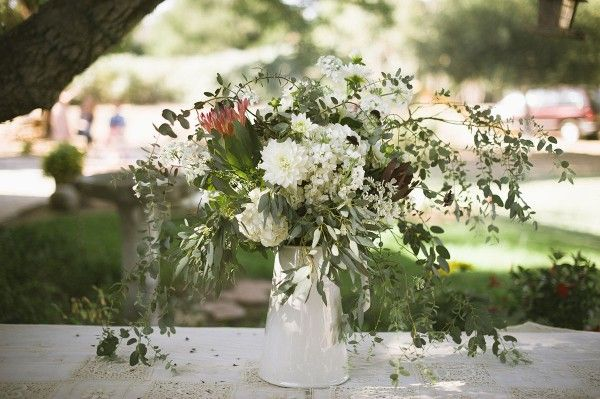 Wildflower Arrangement in White Metal Pitcher