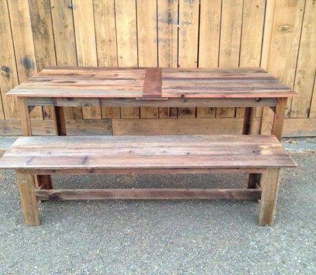 Reclaimed Wood Table with Bench. Bay Area custom furniture from reclaimed wood. www.urbanminingco.com, #custom #farm #table #handmade #local #outdoor #kitchen #diy