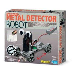 """ΚΑΤΑΣΚΕΥΗ """"ΑΝΙΧΝΕΥΤΗΣ ΜΕΤΑΛΛΩΝ"""" Κατασκεύασε ένα φανταστικό ρομπότ για ανίχνευση μετάλλων και μάθε τι κρύβεται πίσω από αυτό και πως λειτουργεί. Πιέζεις το κουμπί και ο ανιχνευτής κυλάει γύρω-γύρω και αν βρει τον θαμμένο θησαυρό αρχίζει να χτυπάει. Μπορείς να το ελέγχεις εξ αποστάσεως! Όταν κουραστείτε να ελέγχετε το ρομπότ, απλά αφαιρέστε το τηλεκοντρόλ και κάντε εσείς την δική σας ανίχνευση. Ο ανιχνευτής μετάλλου αποσπάτε, γίνετε μπρελόκ και μπορείτε να το χρησιμοποιήσετε και σε εξωτερικούς…"""
