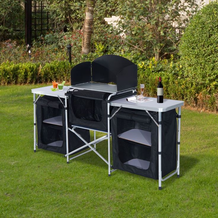 Camping Kitchen Picnic Cabinet Table Portable Folding Cooking Storage Rack Alu #Outsunny