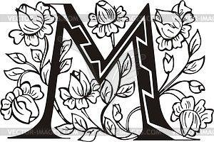 Decorative Letter M   Capital letter M - vector clipart