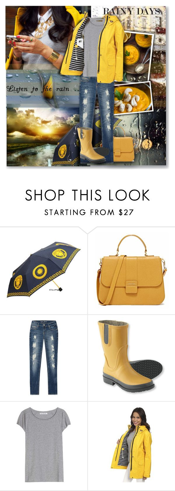 """Listen To The Rain"" by lastchance ❤ liked on Polyvore featuring Versace, L.L.Bean, Acne Studios, Hatley, rain, lastchance and plus size clothing"