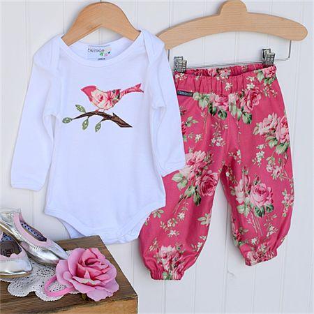 Harem + Top Size 0000-1 Pink Stemmed Roses with applique bird bodysuit