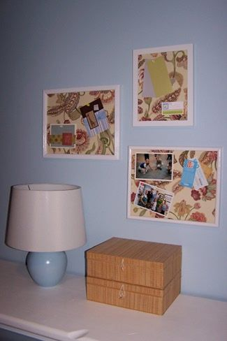 Thrift Store Decorating-Bulletin Board Frames Using Foam Core, Fabric and Repainted Frames