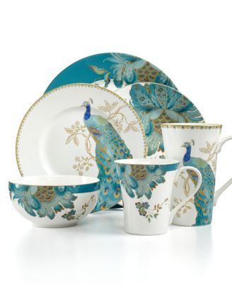 222 Fifth Dinnerware Eliza Teal & Peacock Garden Mix & Match Collection Casual Dinnerware Dining & Entertaining on PopScreen