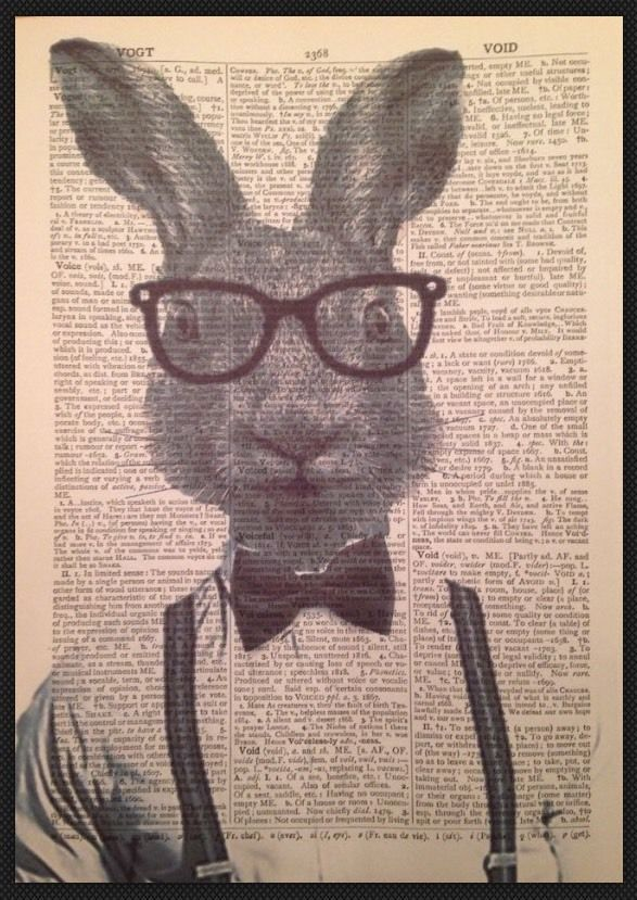 VINTAGE HARE RABBIT PRINT PICTURE Dictionary Page Art Quirky Animal Bow Tie in Home, Furniture & DIY, Home Decor, Wall Hangings   eBay  #hare #rabbit #humanized #animal #anthropomorphic #hipster #grey #picture #print #wallart #bowtie #affordable #3for£10 #ebay #art #quirky #ideas