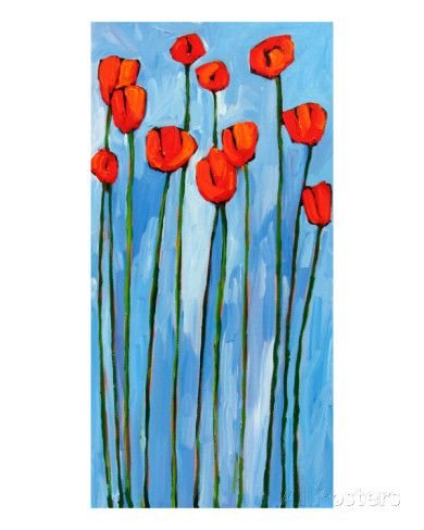 Poppies On Blue - 2 Of 3 Giclee Print by Patty Baker at AllPosters.com