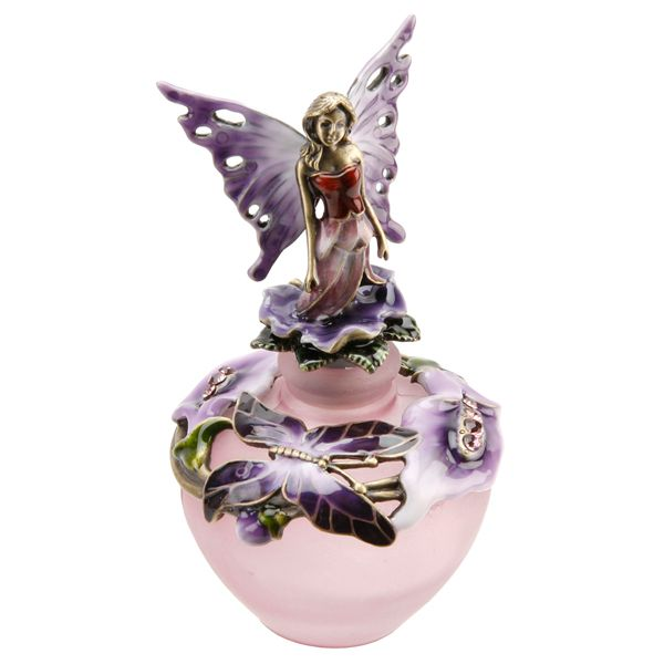 Lilac Fairy Perfume bottle in a beautiful butterfly design in pewter and enamel.