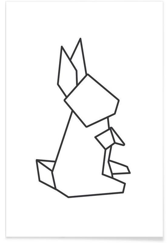 Origami Hase als Premium Poster