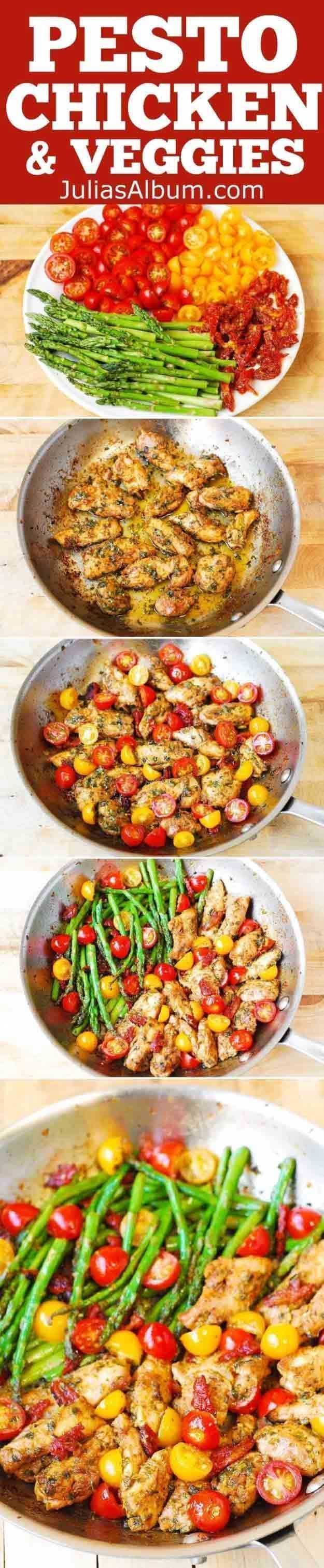 Quick and Easy Healthy Dinner Recipes - One-Pan Pesto Chicken and Veggies - Awesome Recipes For Weight Loss - Great Receipes For One, For Two or For Family Gatherings - Quick Recipes for When You're On A Budget - Chicken and Zucchini Dishes Under 500 Calo