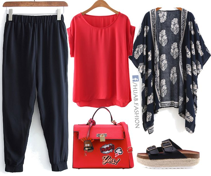 Navy Blue u0026 Red Outfit Idea | Hijab Outfits Ideas | Pinterest | Navy blue Navy and Hijab outfit