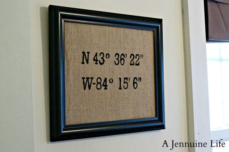 These coordinates are for the exact location where my husband and I first met at a summer party held by a pair of mutual friends.  This could be a great gift idea since you could choose any location with meaning – first meeting, homes you've lived in; the possibilities are endless!