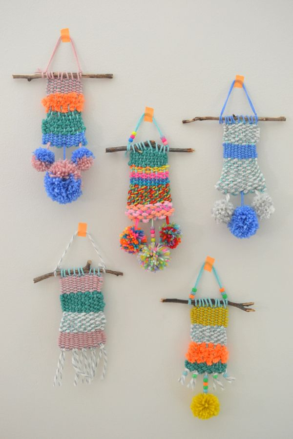 Weaving with Kids- these incredible weavings were made by kids using simple cardboard looms!  Details on Art Bar Blog