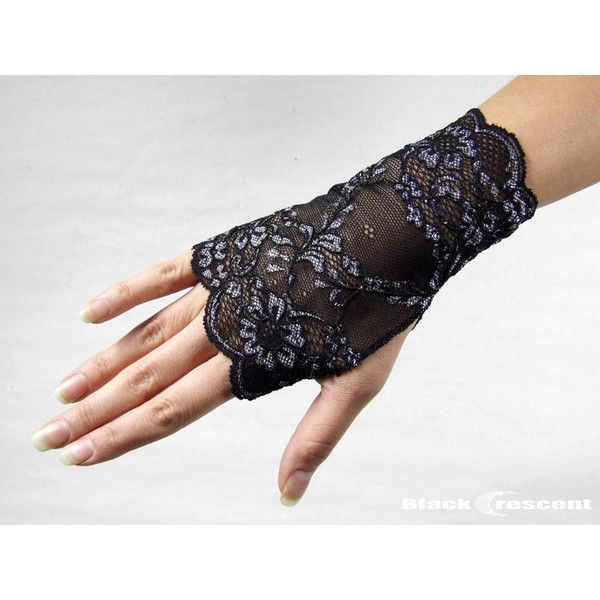 Elegant short gothic lace... ($5) ❤ liked on Polyvore featuring accessories, gloves, vintage gloves, vintage lace gloves, steampunk fingerless gloves, stretch gloves and gothic gloves