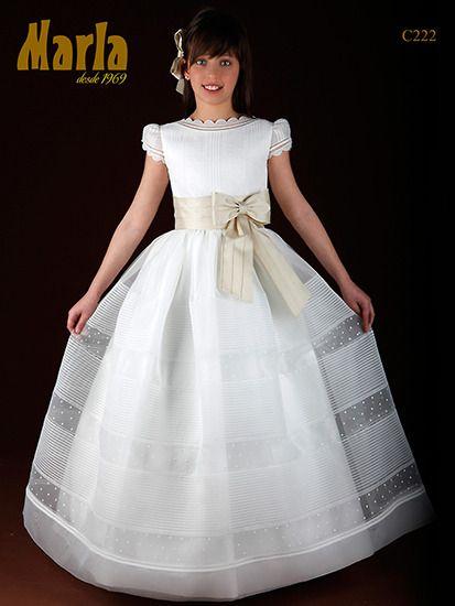 Vestido de comunión niña seda italiana Marla C222