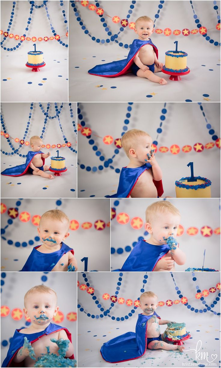 1st birthday super hero cake smash photography - blue and red super hero birthday party cake smash. /// How cute is this cake and setup? I love it!