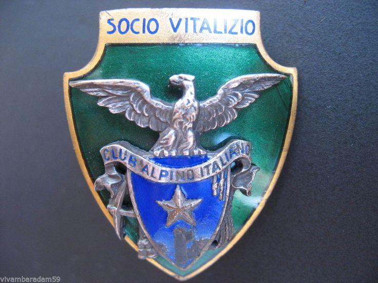 DISTINTIVI CAI SOCIO VITALIZIO 1935 SMALTI FASCIO ORIGINAL MOUNTAIN BADGE