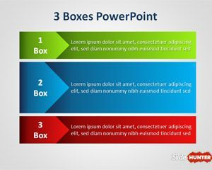 Three Boxes PowerPoint Template is another PPT diagram for PowerPoint presentations with three boxes or three stages in the slide design