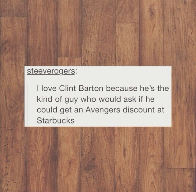 I AM A BARISTA CLINT I WILL GIVE YOU A DISCOUNT JUST COME ASK ME (Falcon, you too. I can see you doing this.)- repinning for the comments!
