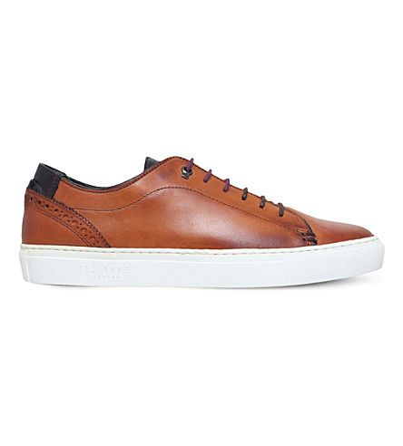 TED BAKER Kiing Leather Low-Top Trainers. #tedbaker #shoes #trainers