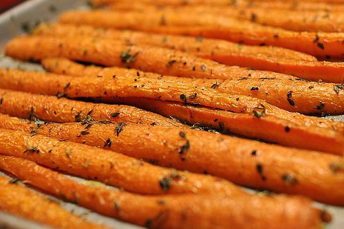 Pioneer Woman's Roasted Carrots. you could do this with a lot of different veggies, yum!