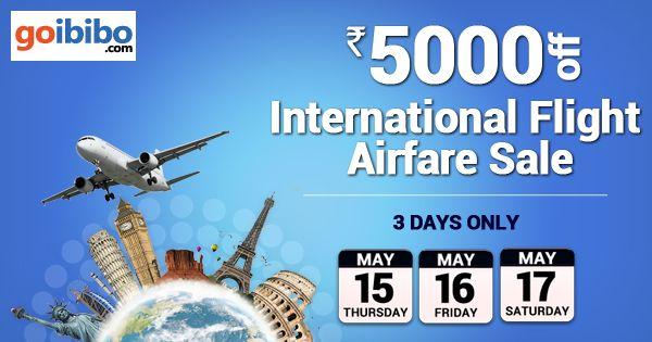 Last 2 Days of International Airfare Sale | Rs.5000 Off on Int'l Flight Hurry! Book Now http://bit.ly/1g5oxyH