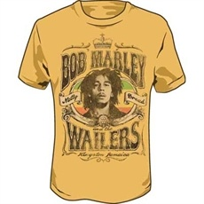Bob Marley Natty Dread Crown Men's T Shirt (Faded Gold)     This faded gold Bob Marley Men's Tee celebrates Bob Marley and the Wailers during the time of the Natty Dread LP. Printed on the shirt is Bob Marley and the Wailers, Natty Dread. Bob Marley is pictured in the center with the rasta colors in the background.
