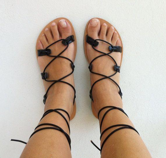 gladiator sandals, leather sandals, black gladiator sandal, lace up sandal