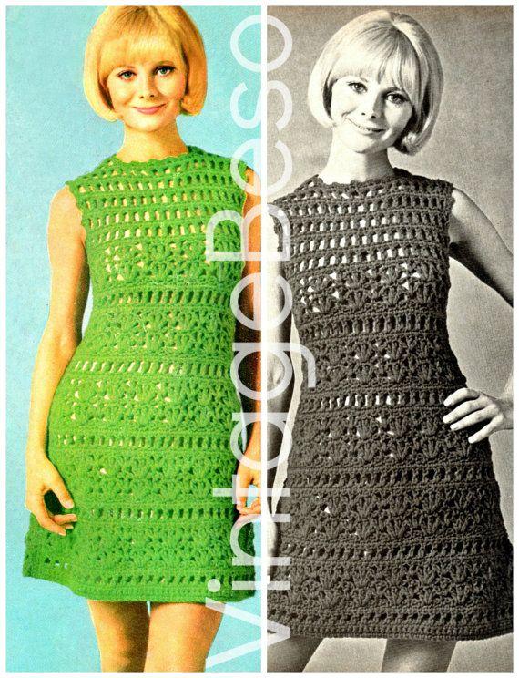 Ladies Dress Crochet Summer Wear is a Sexy Lace A-Line Dress 1960s Vintage CROCHET PATTERN - Pdf Pattern - INSTANT Download
