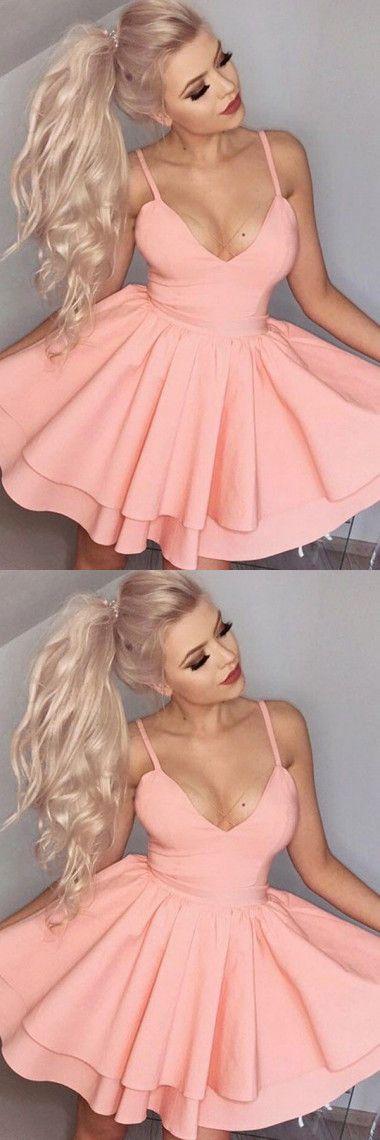 #homecoming dress #short pink dress #satin dress #spaghetti straps dresses