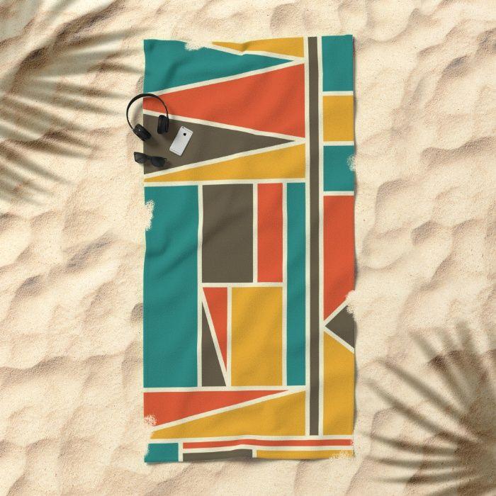 Kaku Retro society6 Towel by Fimbis  #retro #vintage #geometric #fashion, #interiors #homedecor #home #style #art #design #beach #holiday #vacation