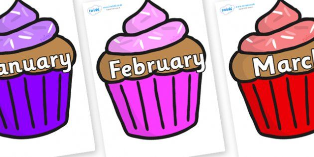 Months Of The Year On Cupcakes Months Of The Year