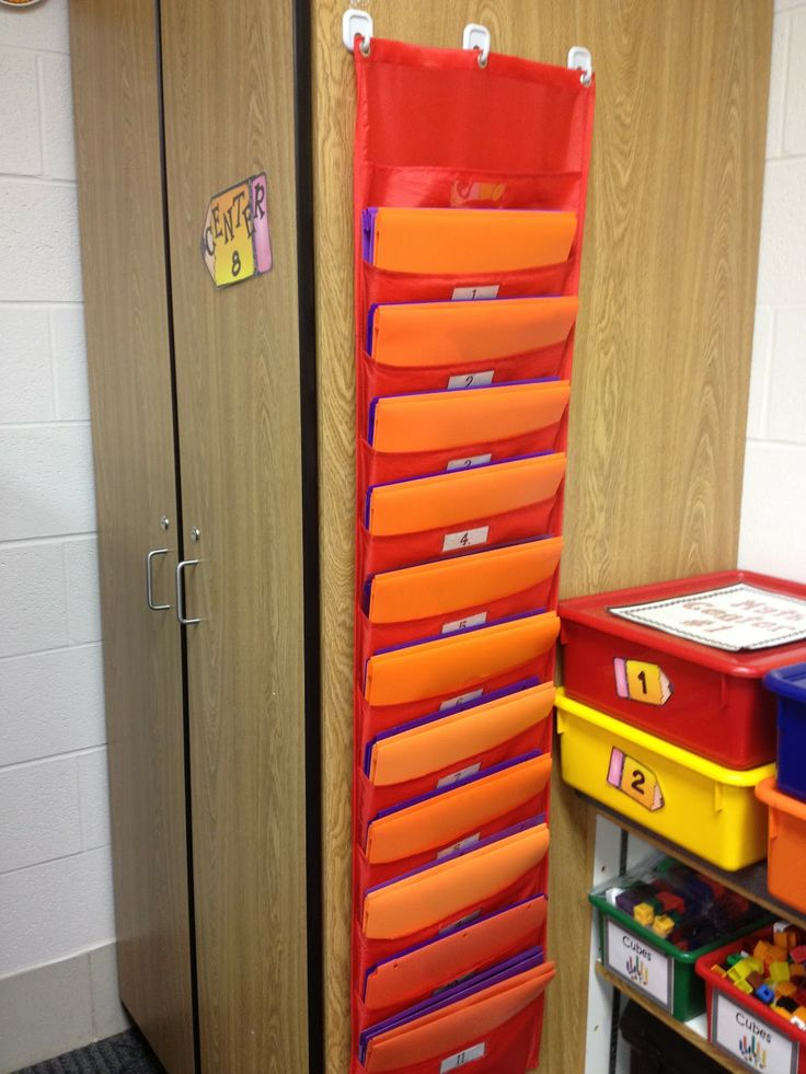 Work/Task Boxes/ABA Materials for each student color-coded & coordinated with Folders in hanging folder pockets