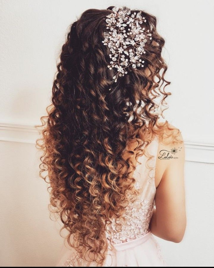 Pin By Jessenia Cedeno On Wedding And Party Hairstyles Long Curly Hair Curly Hair Styles Curly Wedding Hair