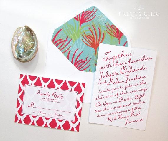 Coral Reef Beach Island Wedding Stationery Suite - Beach Invitation - Save the Date - Beach Wedding - Coral Invitation - Island