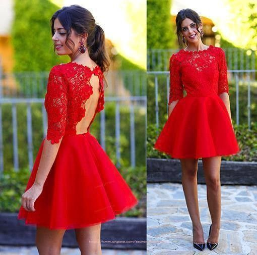 2015 Sweety Hot Red Homecoming Dress Half Sleeves Lace Open Back A Line Short Prom Cocktail Dresses
