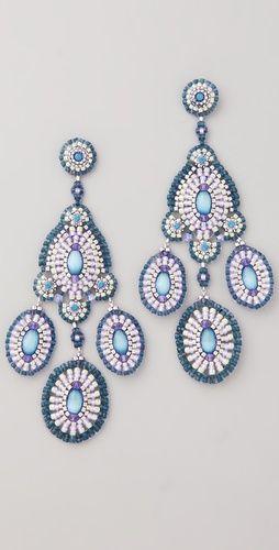 Miguel Ases Bead & Crystal Chandelier Earrings