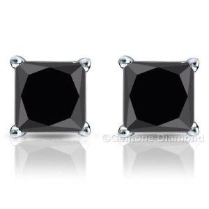 5.00 carat natural black diamond earrings studs in 14k white gold for gift at wholesale price from bottom manufacturer.  Natural Princess Black Diamond Earrings Studs.