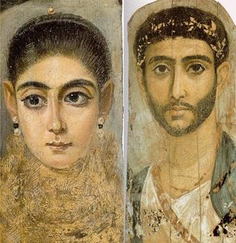 Fayum Mummy Portrait, 기원전 2~3세기    알렉산드로스 대왕이 거대한 제국을 세운 후 문명세계로 알려진 대부분의 지역을 통합    헬레니즘이라는 새로운 문명의 탄생  첫번째 작품에서 분석한 것과 마찬가지로 역사적으로 안정된 시기에 그려진 작품들이다. 제국이 통합되며 평화로운 시기들이 이어졌고, 이에 상류층 사이에서 초상화가 그려졌을 것이라 생각한다.   파윰 미이라에서 나온 여러 초상화들은 기원전에 그려진 것이라고는 믿기지 않을 정도로 그 사람들의 특징들이 개개인마다 다르다는 것을 알 수 있다. 또한 이전과는 달리 장신구나 옷차림 등을 통해서 유행을 파악해볼 수도 있다.   재미있는 점은 앞의 사진 이외의 대부분 파윰 초상화에서도 곱슬머리나 부리부리한 큰 눈을 갖고 있다는 것이다. 순수 그리스, 로마인이라기 보다는 이집트의 문화를 받아들이며 동화되었다고 생각한다.