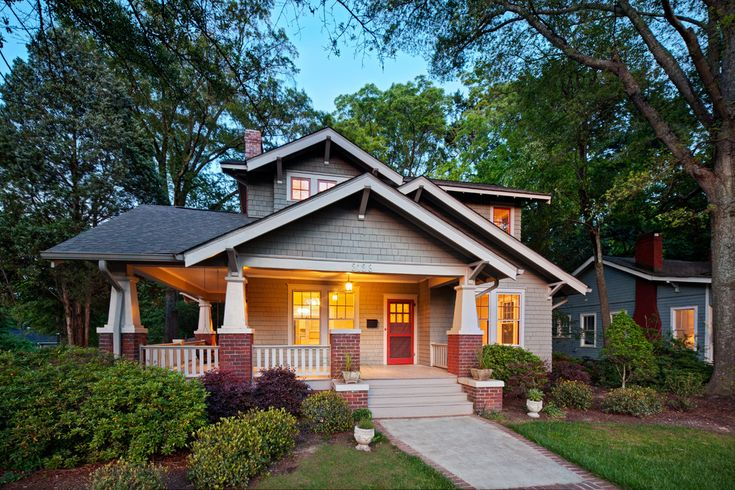 2nd story additions in Exterior Craftsman with bungalow brick chimney