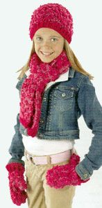 Crochet 'Tween Set Hat, Scarf & Mittens LM0210 | Free Patterns | Yarn