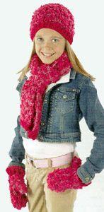 Crochet 'Tween Set Hat, Scarf & Mittens LM0210 | Free Patterns | Yarn