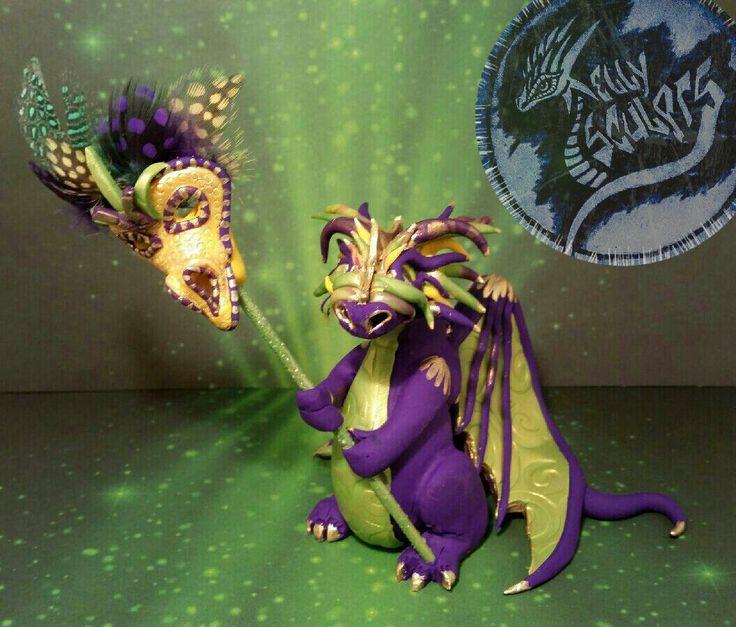 Polymer clay Mardi Gras dragon by Kellysculpts on facebook #mardigras #dragons #masks #purpledragon #polymerclay #art #sculpture #kellysculpts