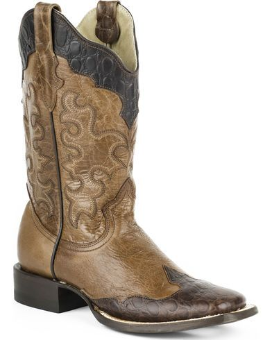 Roper Women's Faux Sea Turtle Wingtip Cowgirl Boots - Square Toe - Country Outfitter
