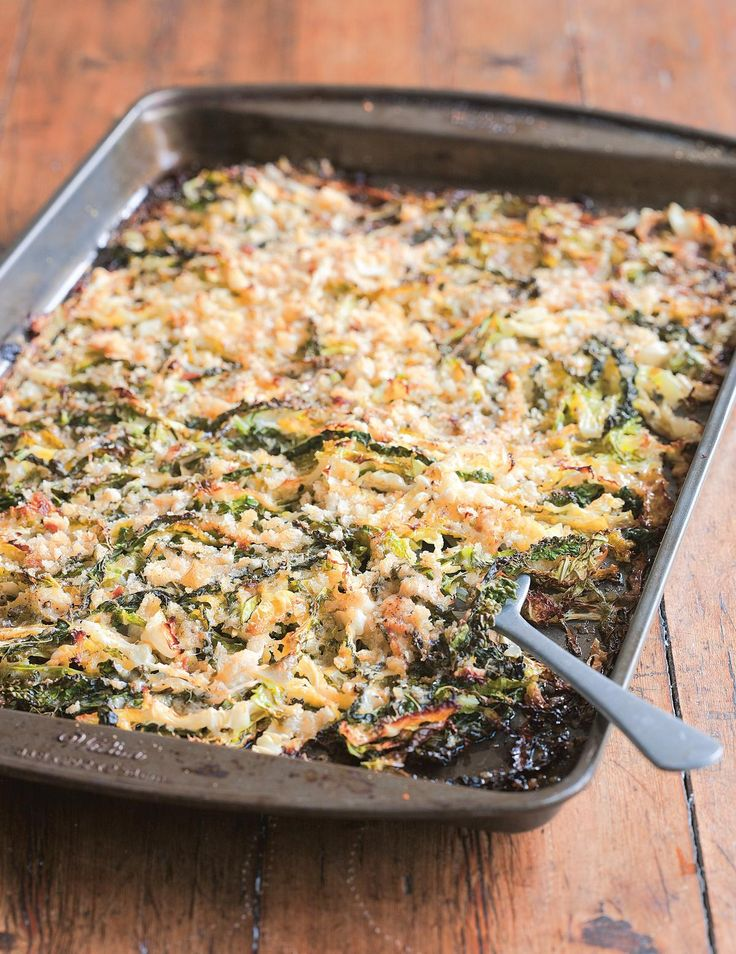 Crunchy Shredded Roasted Cabbage with Parmesan and Breadcrumbs - The Happy Foodie 'Cabbage is a brilliant accompaniment to a roast dinner but it doesn't have to be served steamed. This is the Chiappa way! It's cheesy, crunchy and very Italian – what could be better than that?'